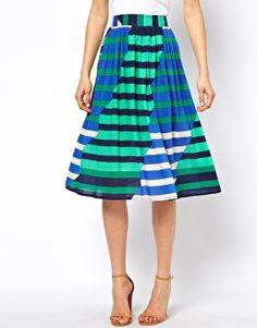 Image 4 ofASOS Midi Skirt in Multi Coloured Stripe