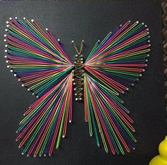 Nails and Strings Art Butterfly String Art, Butterfly String Art Sign, Unique String Art Wood, Handmade Butterfly String Art Wall Decoration Wall Art, Christmas Gift Mothers Day Gift Kids Gift