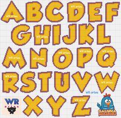 Blog do Wagner Reis: Alfabeto infantil GALINHA PINTADINHA ponto cruz