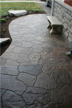 Stamped Concrete Walkway, Colored Concrete Walkway Stamped Concrete Allcrete Design Keswick, Ontario The Effective Pictures We Offer You About wood patio A quality picture can tell you many things. Stamped Concrete Pictures, Stamped Concrete Patterns, Stamped Concrete Walkway, Concrete Patio Designs, Stained Concrete, Concrete Stamping, Concrete Lamp, Back Patio, Backyard Patio