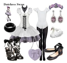 """""""Dutchess Swan"""" by wonderlandofgeeks ❤ liked on Polyvore featuring ASOS, Gianvito Rossi, Chloé, Posh Girl, disney, everafterhigh and Odette"""