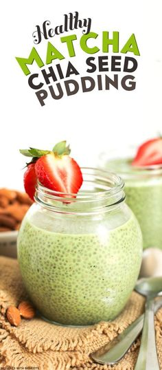 Healthy Matcha Green Tea Chia Seed Pudding (refined sugar free, low fat, low calorie, high fiber, gluten free, dairy free, vegan)