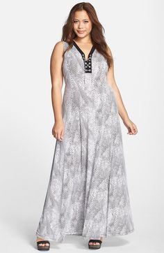 MICHAEL Michael Kors 'Serpent' Print Sleeveless Lace-Up Jersey Maxi Dress (Plus Size) available at #Nordstrom