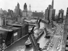Cargo Ship on Chicago River Photographic Print