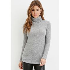 Forever 21 Forever 21 Women's  Heathered Turtleneck Sweater ($23) ❤ liked on Polyvore featuring tops, sweaters, long sleeve turtleneck, polo neck sweater, long sleeve turtleneck top, lightweight sweaters and forever 21