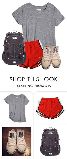 """School...."" by therealprep13 ❤ liked on Polyvore featuring NIKE, Converse and The North Face"