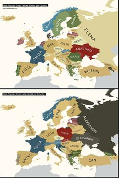 Fascinating map of popular names for boys and girls, broken down by European country.