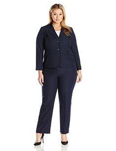 Le Suit Women's Plus Size 2pce. Stripe Jkt/Pant - http://www.darrenblogs.com/2017/02/le-suit-womens-plus-size-2pce-stripe-jktpant/