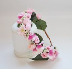 Silk Flower Crown Pink Roses Hydrangea and by blueorchidcreations