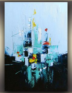 Blue Abstract Painting Oil Painting Art by OriginalPaintingsTR