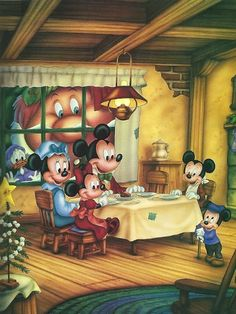 """""""Mickey's Christmas Carol"""" © Disney -by Phil Wilson - watercolor using airbrush - for Children's book"""