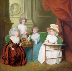 Lady Jane Mathew and her Daughters, c.1790 (oil on canvas), English School, formerly attributed to John Downman (1750-1824)