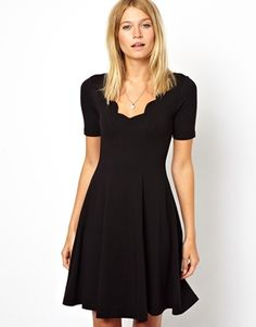 Image 1 of ASOS Skater Dress With Scallop Detail