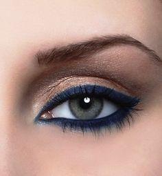 Navy Eyeliner with Gold Eyeliner |