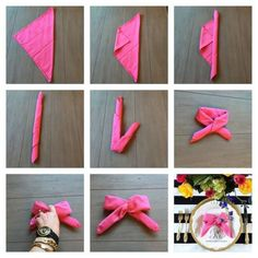 How to fold a napkin into a bow. Kate Spade inspired brunch - use clear rubber band to secure the bow into place. Kate Spade Party, Kate Spade Bridal, Origami, Creation Deco, Napkin Folding, Bridesmaid Jewelry Sets, Deco Table, Bridal Shower Decorations, Diy Crafts To Sell
