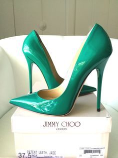 JIMMY CHOO ANOUK 120 JADE GREEN PATENT LEATHER PUMPS SHOES 37.5 NIB #JimmyChoo #PumpsClassics