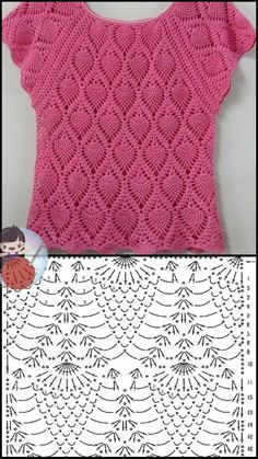 Crochet Mask, Crochet Blouse, Crochet Chart, Love Crochet, Easy Crochet, Knit Crochet, Crochet Stitches Patterns, Crochet Designs, Knitting Patterns