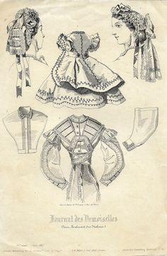 """Journal des Demoiselles Fashion Plate - c1850 - """"""""ACCESSORIES"""""""" - Lithograph"""