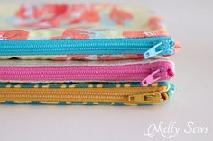 Great to sew for craft fairs - How to Sew a Zipper Pouch - 15 minute sewing project - Melly Sews