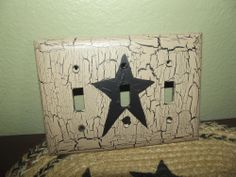 Primitive Crackle Painted Switch Plate ~ 3 Light Switch ~ Black Stars