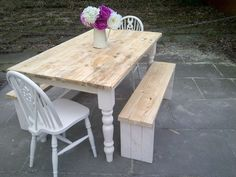dining table - 2 chairs 2 BENCHES.shabby chic farmhouse 5ft x 3ft COTTAGE