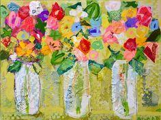 Mason Jar Mix by Christy Kinard Art And Illustration, Art Floral, Mixed Media Canvas, Mixed Media Art, Jar Art, Encaustic Art, Flower Art, Flower Collage, Painting Inspiration