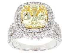 Bella Luce® 17.09ctw Canary,White and Pink Diamond Simulants Rhodium