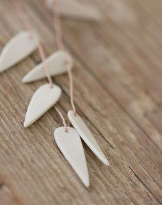 White Leaf Necklace  Porcelain Silk and Sterling by afjewellery, $80.00