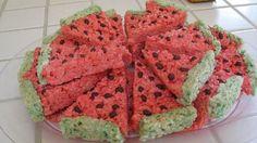 perfect picnic food; colored rice crispie treats