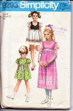 Simplicity 9293 Vintage 1970's Sewing Pattern Little Girls Dress Empire Waistline Bolero Jacket