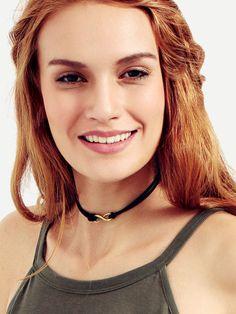 Black Velvet Embellishment Choker Necklace