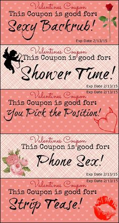 Valentine's Day Coupons FREE to print out - ADULT versions!