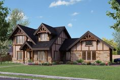 The Chelsea design was created to blend well into an established neighborhood or a more traditional style subdivision. This classic Tudor look is achieved through faux half-timber accents complimented by true timber frame trusses and stucco.