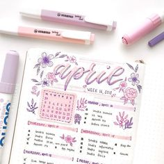Beautiful purple april bullet journal spread by ig floral doodle i