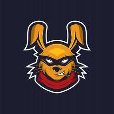 Logotipo de mascote ninja de coelho Vetor Premium Team Logo Design, Logo Desing, Badge Design, Crow Logo, Cool Illusions, Hipster Design, Esports Logo, Graffiti Drawing, Studio Logo