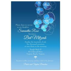 Bat Mitzvah Invitation - Blue Ombre Floral Falling Pansy