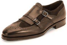 $895, Salvatore Ferragamo Marlin Textured Calfskin Suede Double Monk With Kiltie Shoe Brown. Sold by Neiman Marcus. Click for more info: https://lookastic.com/men/shop_items/243118/redirect