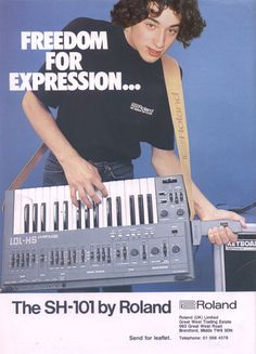 Vintage ad ~ 1982 for the Roland Synthesizer I bought mine at a car boot for Vintage Synth, Vintage Music, Vintage Ads, Music Machine, Drum Machine, Analog Synth, Wall Of Sound, Recording Equipment, Electronic Music