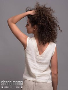 Washed Linen Top MIA  Light Linen Blouse  Sleeveless Linen