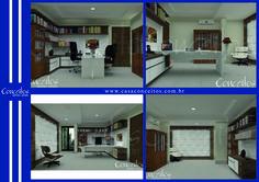 A utilização do branco no chão e no teto amplia o ambiente de forma que o tom amadeirado dos móveis também combinados com o branco aparecem para sofisticar o local.