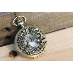 Alice in Wonderland pocket watch necklace antique steampunk jewelry... ($4.30) ❤ liked on Polyvore featuring jewelry, necklaces, alice in wonderland, pocketwatch, steampunk pocket watch necklace, copper pendant, steam punk pocket watch, pocket watch and chain necklaces