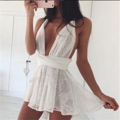 New arrival summer womens playsuits 2016 white lace strap v neck sleeveless jumpsuit one piece rompers lovely girls playsuits купить на AliExpress