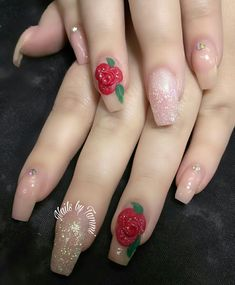 Sculpted Acrylic nails with 3D roses