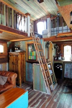 Pure salvage living and the Tiny Texas House. 100% salvaged. lots of great tiny houses here