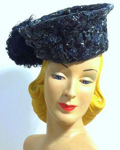 Smashing Glossy Blue Woven Sisal Tall Tilt Hat w/ Pompom circa 1940s - Dorothea's Closet Vintage