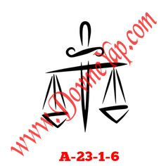 Terazi Adalet Simgesi Geçici Dövme Şablon Örneği Model No: A-23-1-6