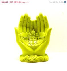 SALE vatican praying hands figurine  //  neon lime green chartreuse  //  kitsch religious collectible, pope, roma, italian, catholic. $18.20, via Etsy.