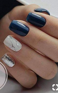 Cute Gel Nails, Glitter Gel Nails, Chic Nails, Fancy Nails, Stylish Nails, Trendy Nails, Blue Nails With Glitter, Nagellack Design, Pretty Nail Art