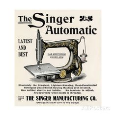 Advertisement for the Singer Automatic Sewing Machine, 1890s Giclee Print - AllPosters.co.uk