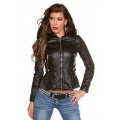 Dames jas lederlook met ritsen zwart
